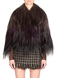 Yves Salomon Long Haired Goat Fur Cape Violet Black