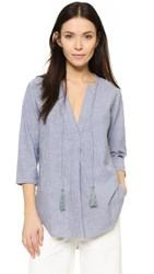 Shakuhachi Stripe Chambray Kaftan Top Blue White