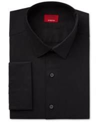 Alfani Red Men's Slim Fit Stretch Black Solid French Cuff Dress Shirt Only At Macy's