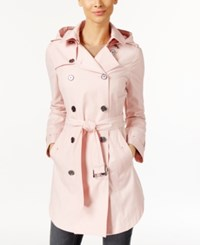 Michael Kors Hooded Double Breasted Belted Raincoat Pale Pink