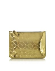 Mary Katrantzou Laminated Gold Leather Pouch W Stars