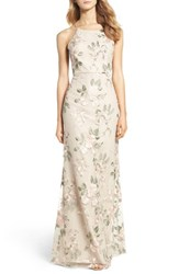 Jenny Yoo Women's Claire Floral Embroidered Gown Blush Sand Dune
