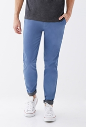 Forever 21 Contrast Cuff Chinos Blue