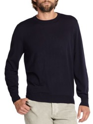 Brunello Cucinelli Wool Cashmere Crewneck Sweater Navy Oatmeal