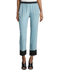 Cnc Costume National Two Tone Straight Leg Cropped Pants Light Blue Women's