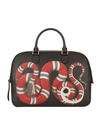 Gucci Leather Snake Briefcase Unisex Black