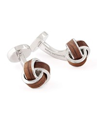 Ermenegildo Zegna Knotted Wood Cuff Links Brown