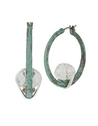 Robert Lee Morris Soho Wire Wrapped Patina Hoop Earrings Blue