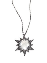 Anzie Aztec Sunburst White Topaz And Sapphire Pendant Necklace Gunmetal