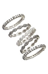 Freida Rothman Classic Mixed 5 Stack Ring Black White Silver