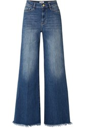 Frame Le Palazzo Frayed High Rise Wide Leg Jeans Dark Denim