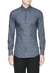 Dolce And Gabbana 'Gold' Bee And Crown Print Cotton Poplin Shirt Blue