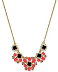 Kate Spade New York Gold Tone Stone And Crystal Flower Cluster Frontal Necklace
