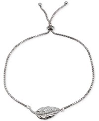 Giani Bernini Cubic Zirconia Leaf Adjustable Slider Bracelet In Sterling Silver Only At Macy's