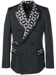 Dolce And Gabbana Monogram Contrast Double Breasted Jacket Black