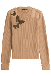 Alexander Mcqueen Wool Pullover With Embellished Butterflies Camel