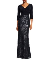 Adrianna Papell Sequin Embellished V Neck Gown Black