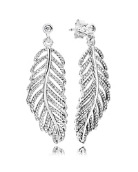 Pandora Design Pandora Earrings Sterling Silver And Cubic Zirconia Light As A Feather