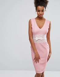 Paper Dolls Pink Bodycon Dress With Lace Middle Pink