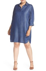 Foxcroft Plus Size Women's Three Quarter Sleeve Denim Shirtdress