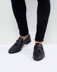 Asos Loafers In Black Faux Leather With Tassel Detail Black