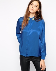American Retro Galactica Long Sleeve Shirt With Embellished Collar Blue