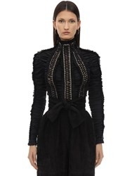 Zimmermann Laced Up Satin Top Black