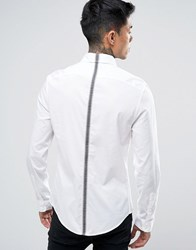Love Moschino Shirt With Taping In Slim Fit White