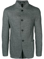 Emporio Armani Single Breasted Fitted Coat Grey