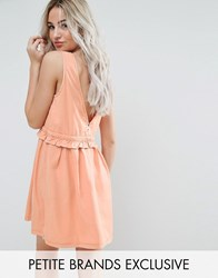 Noisy May Petite Drawstring Dress With Button Back Detail Peach Orange
