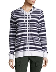 Tommy Bahama Socrates Striped Cotton Hoodie Ocean Deep