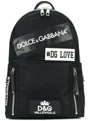 Dolce And Gabbana Patches Backpack Cotton Nylon Polyamide Calf Leather Black