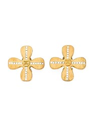 Chanel Vintage Pave Set Diamond Flower Earrings Metallic
