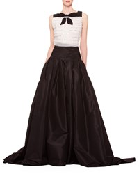 Carolina Herrera Long A Line Silk Skirt Black