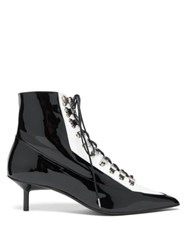 Marques Almeida Marques'almeida Lace Up Patent Leather Boots Black White