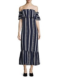 Lucca Couture Off The Shoulder Striped Dress Blue Stripe