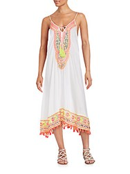 Saks Fifth Avenue Magnum Fringe Float Dress White