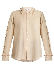 Jupe By Jackie Diwali Embroidered Frill Wool Shirt Cream