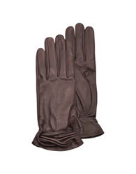 Forzieri Women's Brown Leather Gloves W Knot