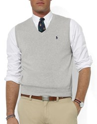 Polo Ralph Lauren Pima Cotton V Neck Sweater Vest Grey Heather