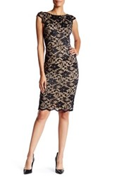 Abs Collection Lace Cap Sleeve Sheath Dress Black