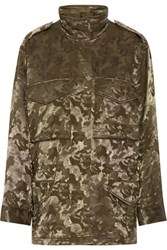 Alexander Wang Printed Wool Blend Cargo Jacket Army Green