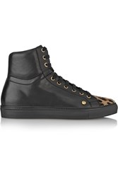 Versus Calf Hair Paneled Leather Sneakers Black