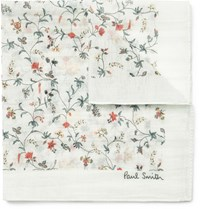 Paul Smith Floral Print Cotton And Silk Blend Pocket Square White
