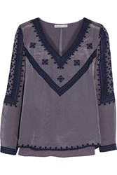 Chelsea Flower Embroidered Crepe Top Gray
