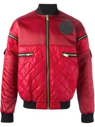 Astrid Andersen Quilted Bomber Jacket Red