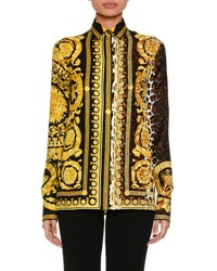 Versace Baroque Leopard Print Button Front Silk Twill Blouse Black Pattern