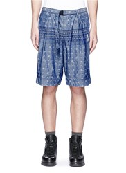 Sacai Pineapple Jacquard Belted Chambray Shorts Blue