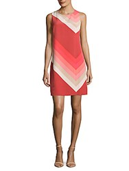 Vince Camuto Modern Band Trapeze Dress Fire Coral