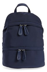 Street Level Faux Leather Trim Backpack Blue Navy